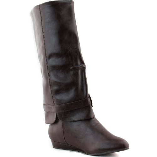 Shoes Tammy Boots Breckelle's 41 Leather Fashion Faux Wedge Calf Women's Brown Mid 6Fw7xqv