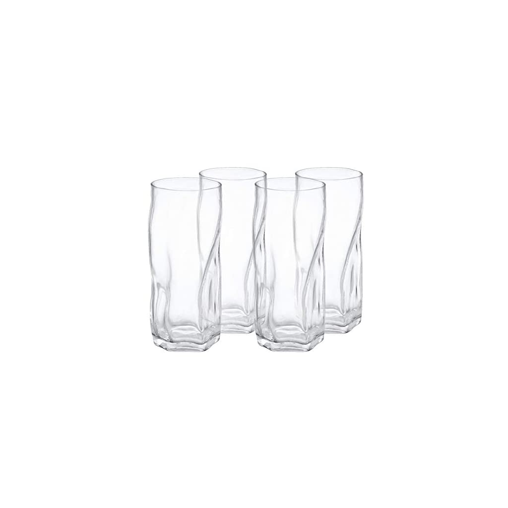 Drinking Glasses Clear Water Tumbler, Highball Glassware Set of 4, 17OZ