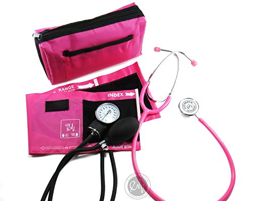 EMI #305 PINK Aneroid Sphygmomanometer Blood Pressure Monitor with Dual Head Stethoscope Set Kit