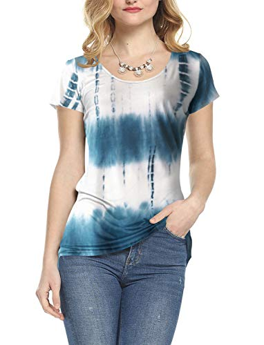 Amoretu Women's Tie Dye Tee Tops Casual Scoop Neck Short Sleeve Summer Shirts(Indigo,L)