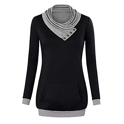 Wintialy Women Cowl Neck Long Sleeve Tunic Sweatshirt Pullover Shirt Tops Blouse BK/XXL