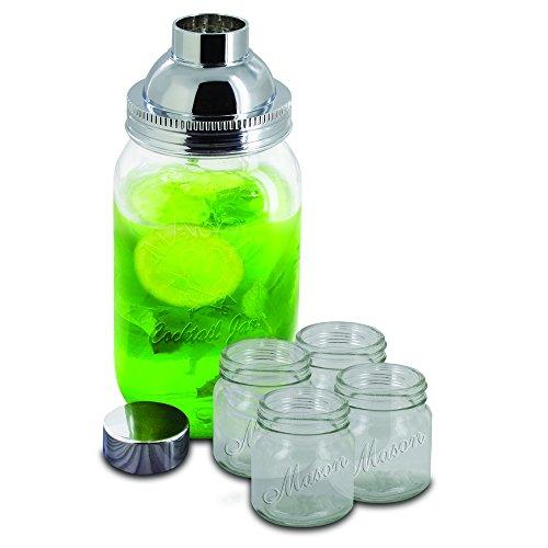 (Smart Planet 5-Piece Mason Jar Cocktail Shaker Set, Clear)