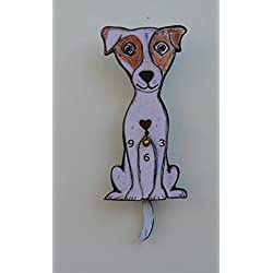 Wall Clock with SwingingTail Pendulum, Cat or Dog, Wood Frame, 31 Different Designs, Requires 2 AA Batteries(not included) for Clock and Pendulum,Quartz Movement (light rose)