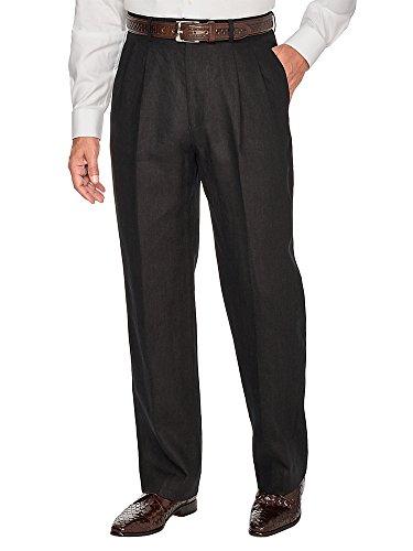 Paul Fredrick Men's Linen Pleated Pant Black 37 (Paul Fredrick Trim)