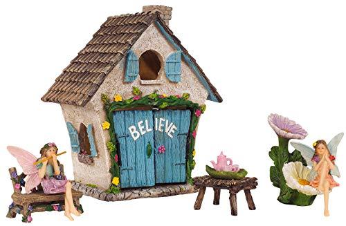 Mystic Garden Fairy Garden Kit; Believe House and 9 Fairy Garden Accessories for Indoor/Outdoor Decoration; Garden & Home Decor ()