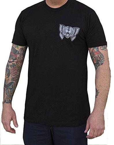 Men's Flying Tiger by Jacob Doney Wild Cat Butterfly Tattoo Art Black T-Shirt -