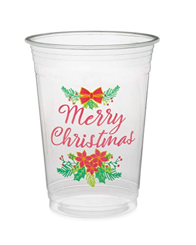 Greenhouse Compostables , Merry Christmas Clear Cold Cups, 50 Count, 16 oz, 100% Compostable - Red Poinsettias And Green Holly, Christmas Holiday Party Disposable Cups