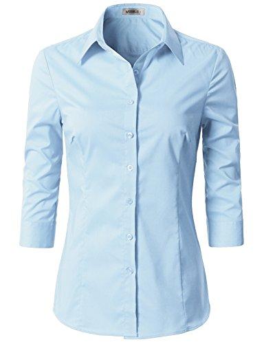 Doublju Womens Slim Fit Comfortable Cotton Blend 3/4 Sleeve Button Down Shirt SkyBlue Large