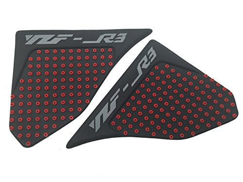 3D Red Dots Gas Fuel Tank Traction Pad Anti Side Slip Protector For Yamaha YZF R3 2015 2016