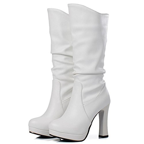 COOLCEPT Women Fashion Chunky High Heel Stretch Boots Mid Calf White E0SEoAwpaC