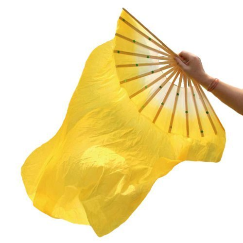 Eforstore 1.8M Dance Fan Veil Hand Made Belly Dancing Silk Bamboo Long Fans Veils Folk Art Chinese Yangko Party Stage Performance Foldable Fan (Belly Dancer For Party)