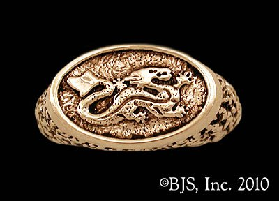 14k. Gold Ashaman Dragon ™ Signet Ring Officially Licensed Robert Jordan Wheel of Time ® Jewelry by Raven Blackwood