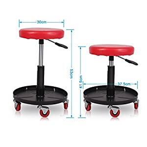 Excelvan Mechanic Car Creeper Seat Round Rolling Stool Height Adjustable Chair Garage Capacity Up to 265LB 120KG Repair Tool for Vehicle At-home Tinkerer