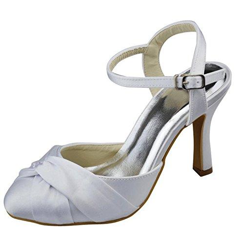 Tacco Da Donna Scarpe Da Sposa Con Cinturino Alla Caviglia, Scarpe Da Sposa Con Cinturino E Tacco Da 9,5 Cm