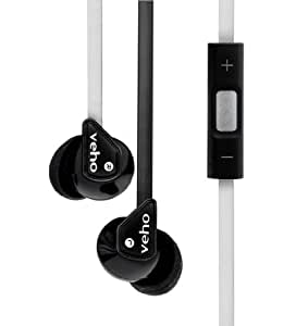 Veho VEP-004-Z2BW 360z2 Noise Isolating Stereo Earphones with Flat Flex Anti Tangle Cord, Inline Control and Microphone - Black/White