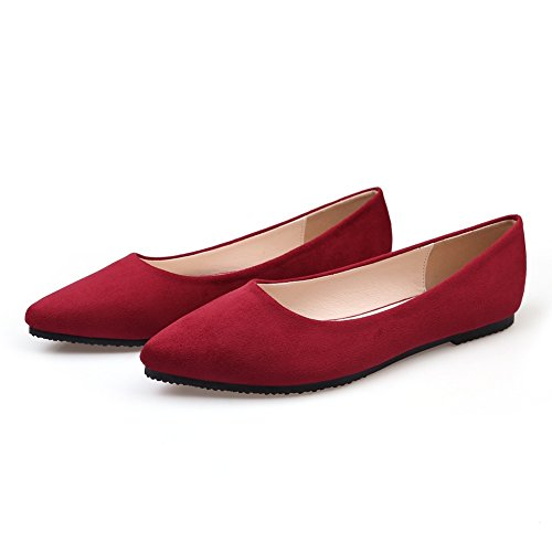 Red Suede Shoes Ballet 02 Slip Flats Soft Toe Flat Womens Pointy Comfort Classic On Ballerina Meeshine Oqx46wf8