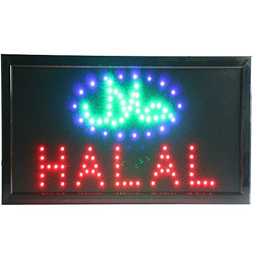 CHENXI led Halal Restaurant Advertising Sign hot Sale Custom Low Power 10 X 19 inch semi-Outdoor Ultra Bright (48 X 25 cm, Halal)