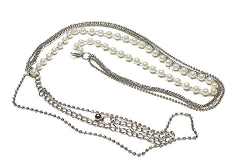 Link Belt Tone Chain Silver (Deal Fashionista Gorgeous SILVER Tone 4 Strands Rhinestones Pearls Chain Belt)