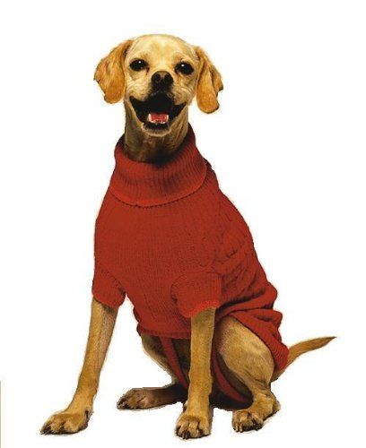 Fashion Pet Classic Cable Dog Sweater, Red, XX,Large