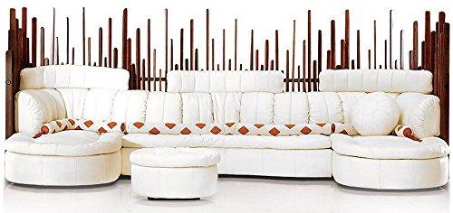 oversize sectional sofa Italian white leather waxed exotic wood masterful