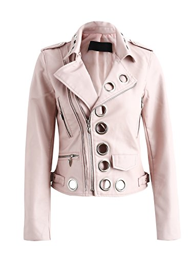 Simplee Women's Fashion Eyelet PU Faux Leather Short Motorcycle Jacket Coat Outwear