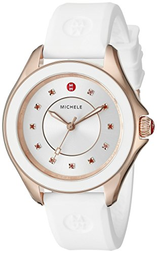 MICHELE Women's MWW27A000004 CAPE Stainless Steel Watch with White Band