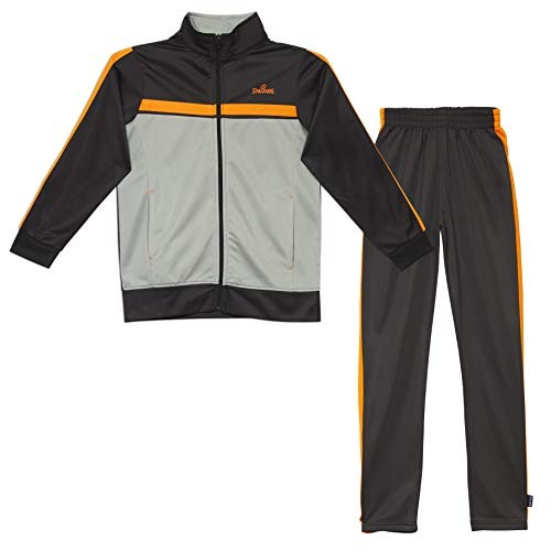 - Spalding Boys Classic Stripe Tricot Athletic Two-Piece Tracksuit Set Gravel (8912) 10/12