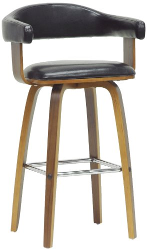 Baxton Studio Quigley Modern Counter Stool, Walnut/Black