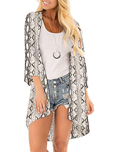 (Women's 3/4 Sleeve Floral Kimono Cardigan, Sheer Loose Shawl Capes, Chiffon Beach Cover-Up, Casual Blouse Tops (C41-Snake Print, Medium))