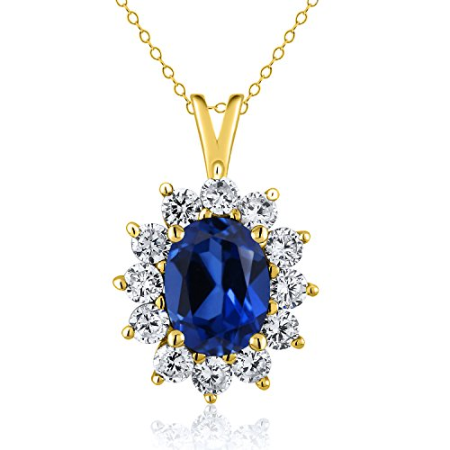 2.20 Ct Oval Blue Simulated Sapphire 18K Yellow Gold Plated Silver Pendant - 18k Blue Sapphire Necklace