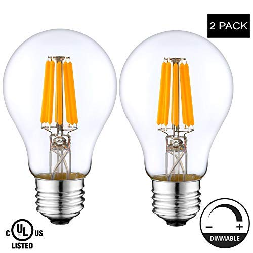 LightAccents Indoor/Outdoor LED Filament Light Bulb A19, 10W (75W Equivalent), 900 lumens, 2700K (Warm White), Omnidirectional, Medium Base (E26) UL-Listed – (Pack of 2) [並行輸入品] B07R91PXTY