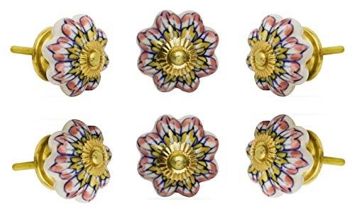 Trinca Ferro Set of 6 Ceramic Melon Knob Pink and Yellow Flower Brass Finish (Knob Flowers White Polished Brass)