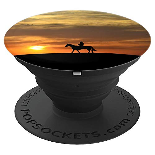 Ever Pretty Sunset With Horseback Riding Silhouette On Hill - PopSockets Grip and Stand for Phones and Tablets ()