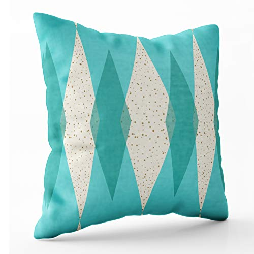 Shorping Zippered Pillow Covers Pillowcases 18X18 Inch mid Century Modern Argyle Outdoor Cube Pouf Decorative Throw Pillow Cover,Pillow Cases Cushion Cover for Home Sofa Bedding
