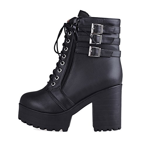 Solid Toe Top Boots Black AmoonyFashion Women's Heels Round PU Closed Low High W6x8A4a