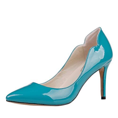 Lackleder Zapatos Mujer Azul Tacón de EKS Blau g7TFw