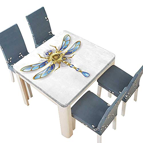 PINAFORE Polyester Tablecloths Mechanical Dragonfly Wings Blue Glass Bronze Gears on a White Decorative Tablecloths Kitchen Room 53 x 53 INCH (Elastic Edge) - Sage Bronze Glass