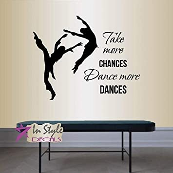 LEAPING DANCER Girls Bedroom Decor Vinyl Wall Decal Quote Lettering Art Sticker