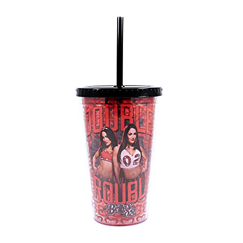 WWE WE24087 Bella Twins Double Trouble Plastic Cold Cup with Lid and Straw, 16-Ounces, Red (The Bella Twins)