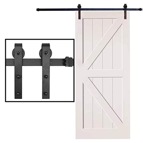 - 6 Foot Black Steel Slide Sliding Barn Door Hardware Track Rail Hanger Roller