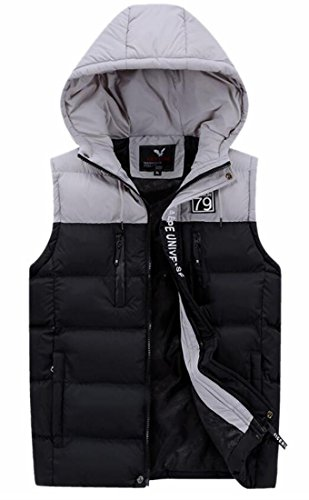today-UK Mens Hooded Sleeveless Contrast Color Puffer Quilted Down Vest Black