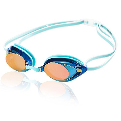 (Speedo Women's Vanquisher 2.0 Mirrored Swim Goggles, Panoramic, Anti-Glare, Anti-Fog with UV Protection, Aqua, 1SZ)