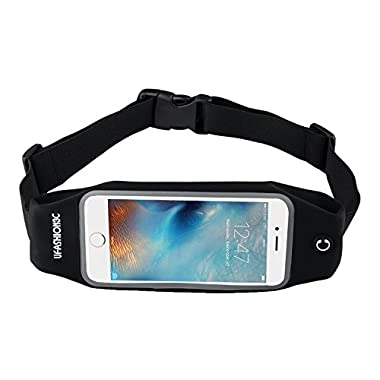 uFashion3C Running Belt Waist Pack with Zipper for iPhone 6, 6S, 6 Plus, 6S Plus, Samsung Galaxy S5, S6, S7, Edge, Note 3, 4, 5, LG G3 G4 G5 with OtterBox/ LifeProof Waterproof Case (Black)