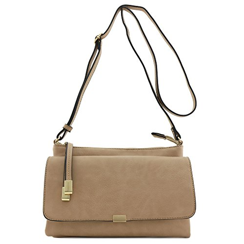 - Half Flap Zip Top Crossbody Bag Light Stone