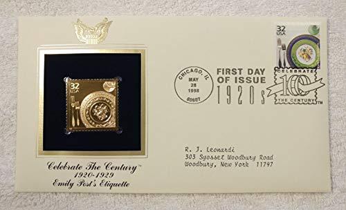 (Emily Post's Etiquette - Celebrate the Century (The 1920s) - FDC & 22kt Gold Replica Stamp plus Info Card - Postal Commemorative Society, 1998 - Good Manners, Social Etiquette, Proper Social Behavior )