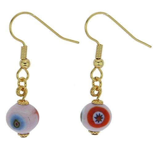 GlassOfVenice Murano Glass Mosaic Pink Ball Earrings
