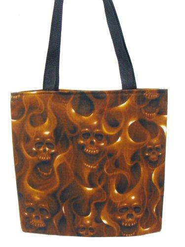 USA HANDMADE FASHION Totebag Handbag with SKULLS ON FIRE Pattern Cotton Fabric, BROWN Color, New, Rare, STB 1202