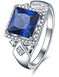 3.72Ct Princess Cut Halo Engagement Ring 925 Sterling Silver Women