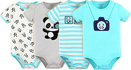 MOM and BAB Bodysuits, Highest Quality, 100 Soft Cotton, Snap Enclosure Shoulder ,Panda ,9 Months (Set of (Clearance Baby)