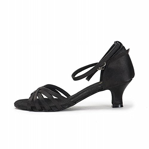National Modern Leather Samba with Sandals 5 Ankle Ribbon 2CM Shoes Latin Dance Standard Strap Dance Dance Shoes Female Shoes Onecolor BYLE Jazz Adult Black 6axXdq4X